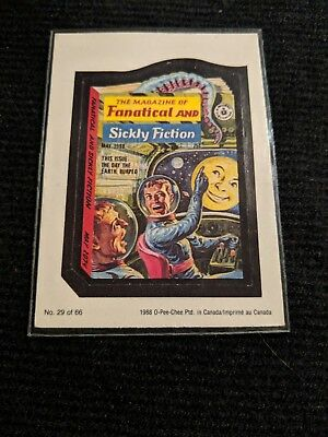 VINTAGE WACKY PACKAGES 1988 OPC O-PEE-CHEE Fanatical and Sickly Fiction Magazine