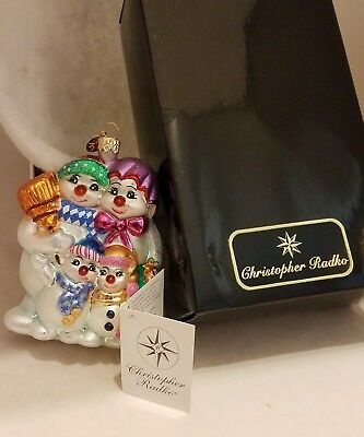 Christopher Radko Christmas Ornament  Snowman Vintage 1999 New in box