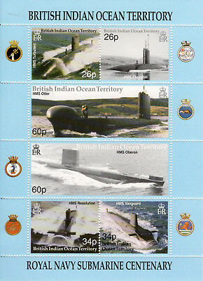 British Indian Ocean Territory 2001 Royal Naval Submarine sheetlet UM (MNH)