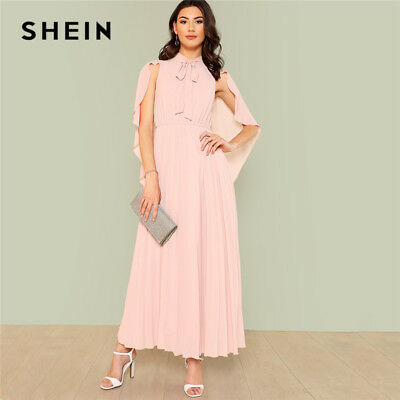 89a6366c6e9 SHEIN PINK PARTY Elegant Exaggerate Bow Tie Neck Glitter Mesh Button ...