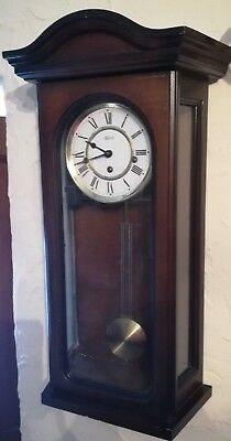 Vintage Wooden Cased Hermle 3 Train Wall Clock - GWO