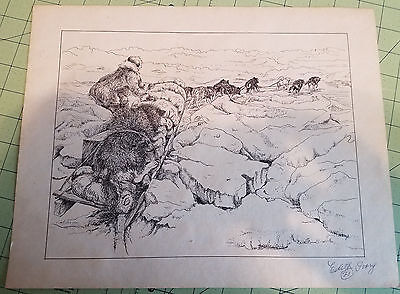 Dog Sled Team Pen/Ink Sketch by artist Edith not signed
