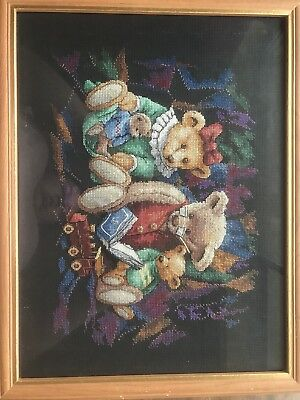 Completed Framed Cross Stitch Family Bears