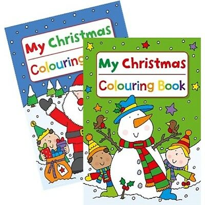 2 x A4 CHILDREN'S MY CHRISTMAS WHITE PAGE COLOURING BOOKS BOOK FUN PICTURES