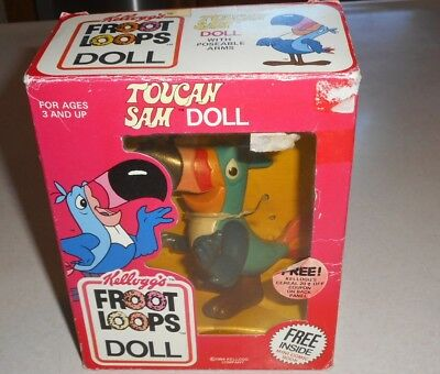 1984 Kellogg's Froot Loops Toucan Sam Doll (With Poseable Arms) WITH BOOK