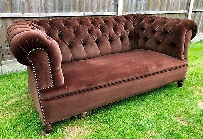 Antique Mahogany Framed Brown Button Back Chesterfield Sofa Club Settee Chair