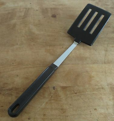 Vintage Ekco Nylon Plastic Slotted Spatula ~ Black Handle, metal Neck, USA ~ 12""