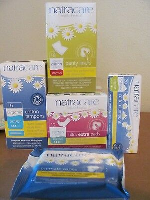 Lot of 5 Natracare Organic Feminine Hygiene Products- Pads Tampons Liners Wipes