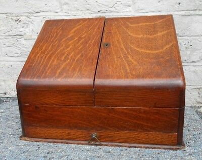 Antique Oak Stationary / Writing Box Cabinet with Drawer