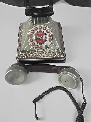 COCA-COLA Stained Glass Look Telephone Phone Lights Up - Collectible For Parts
