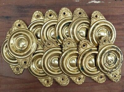 Vintage Brass Hardware Back Plate Pull Plate Federal Style Set of 12