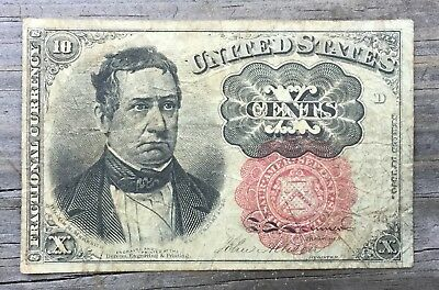 10ct Fractional Currency 4th Issue FR1257 RED SEAL .