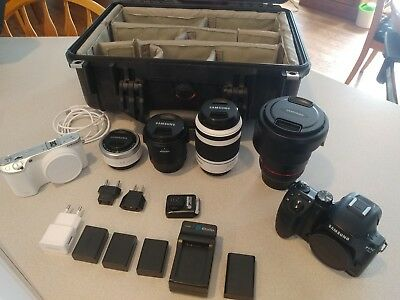 Samsung nx500 and nx30 camera bundle with 4 lenses and Pelican Case