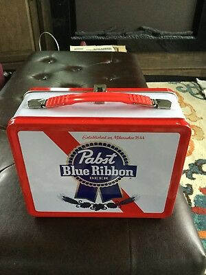 Pbr Pabst Blue Ribbon Beer Metal Lunch Box With Thermos !!!