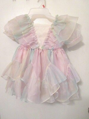 Vintage Martha's Miniatures We're Fussy Girl's Size 4 Pink Ruffled Dress W/ Bell