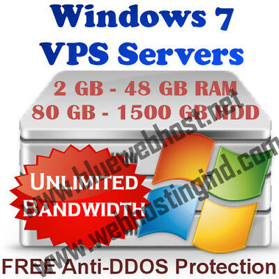 Windows 7 VPS / RDP Server / VIRTUAL Dedicated Server 2GB-48GB RAM, 80GB-1500GB
