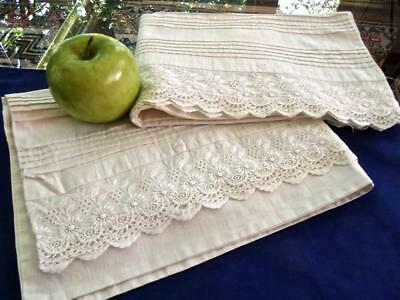 2 Antique Edwardian White Muslin 22x30 Pillowcases MOP Buttons Ayrshire Lace