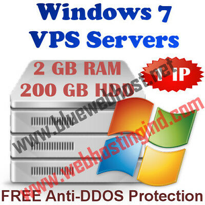 Windows 7 VPS (Virtual Dedicated Server) 2GB RAM + 200GB HDD + UNMETERED TRAFFIC
