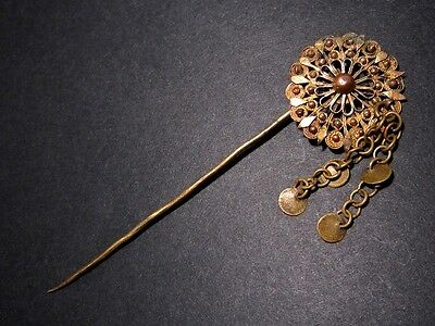 ANTIQUE 1800-1900's. GILT FILIGREE JEWELRY PIN