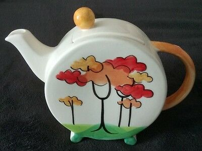 Vintage Bold Coloured Ceramic Teapot Tree Design - Collectable -Immaculate