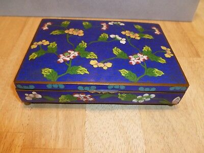 Vintage Chinese Cloisonne Footed Playing Card Box Blue Enamel Flowers Design