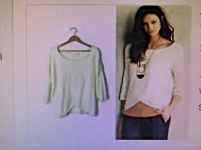 3baf6e7a6e25 NEW ANTHROPOLOGIE MOTH Ivory Cross Front Drape Pullover Sweater knit top L  - $34.99 | PicClick