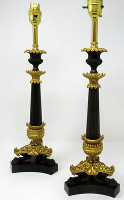 Fine Pair French Patinated Bronze - Ormolu Table Lamps Late 19th Ct. SUPERB