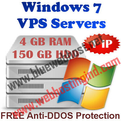 Windows 7 VPS (Virtual Dedicated Server) 4GB RAM + 150GB HDD + DDOS