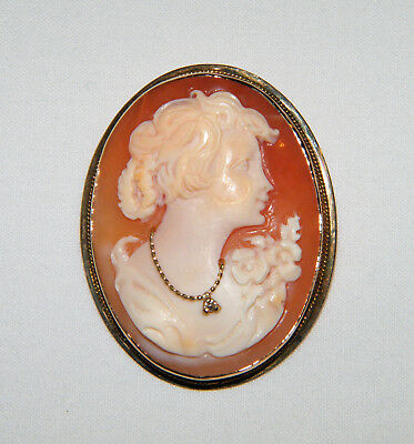 Vtg 585 14K YELLOW GOLD Hand Carved SHELL CAMEO PIN/PENDANT W/ Diamond Necklace