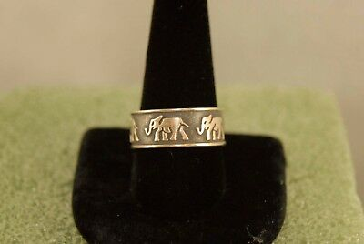 ELEPHANTS Band Ring Sterling Silver Size 11.5