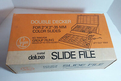 Logan 1500G - Double Decker Metal Slide File - Holds 1500 Slides In Box