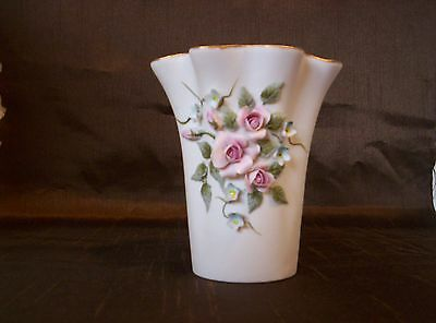 Vintage Lefton China White Vase with Raised Pink Roses - Numbered