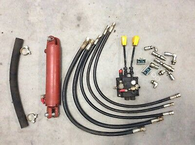Hydraulic Cylinder, All Hoses, Fittings & 2 Spool Forklift Control Valve