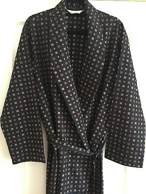 Vintage St Michael Robe Navy Retro Print Late 70's/Early 80's