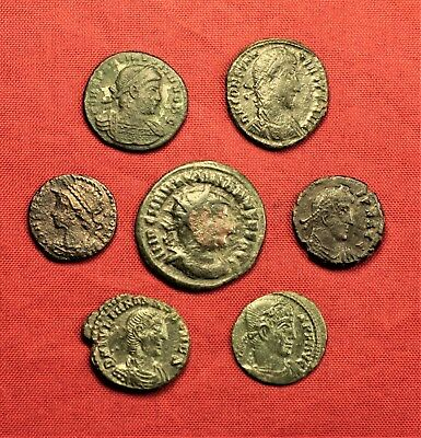 Lot of 7 Ancient Roman Bronze AE3 Coins and Follis #2