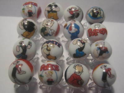 popeye Glass Marbles 5/8 Size with stands