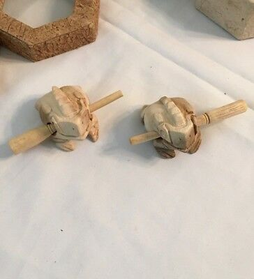 Two Hand Carved Wooden Percussion Frogs New In Box
