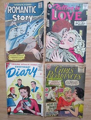 Lot of 4 Vintage Old Love Romantic SILVER AGE Romance Comic books # 17,35,38,