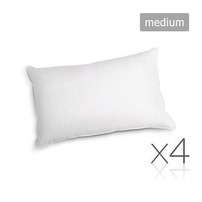4 x Medium Polyester Cotton Pillows Hotel Motel Air BnB Bed Rental 48X73cm