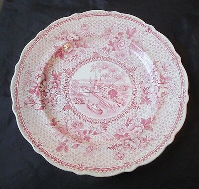 Antique 19th century 1830's Erie Canal Red StaffordshireTransfer Ware PLATE