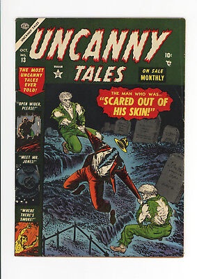 Uncanny Tales #13 - Rare Atlas Horror!  Gruesome Cover: Man Ripped Apart - 1953