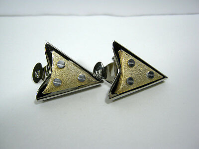 "Vintage Silver Tone Collar Tips With 3 ""Screws"" In A Gold Tone Triangle Usa Made"