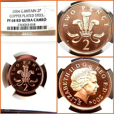 Great Britain 2004 2 Pence Copper Plated Steel Proof-68 Ultra Cameo Ngc