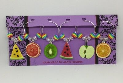 Wine Glass Charms - 6 Multicoloured Enamel Fruit Charms