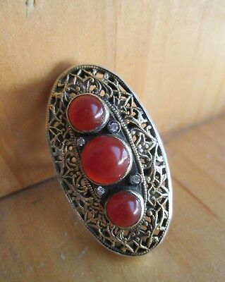 ANTIQUE 19th Century VICTORIAN Austro HUNGARIAN Gilt SILVER Carnelian Stone Ring