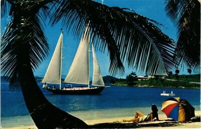 Dr Jim Stamps Us Beach Yacht Caneel Bay Air Mail Postcard Charlotte Amalie