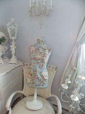"""Shabby Pottery Barn Dress Form Mannequin W/ Stand &  Pink Rose Cover """"as Is"""""""