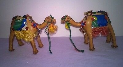"""Pair of DECORATED LEATHER CAMELS Hand Stitched, Embellished Details 3"""" tall"""