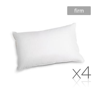 4 x Firm Polyester Cotton Cover Pillows Hotel Motel Air BnB Bed Rental 48X73cm