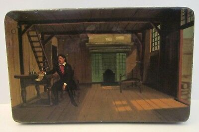 Antique Hand Painted Metal Toleware Box, 19c. Interior Scene Man with Quill Pen